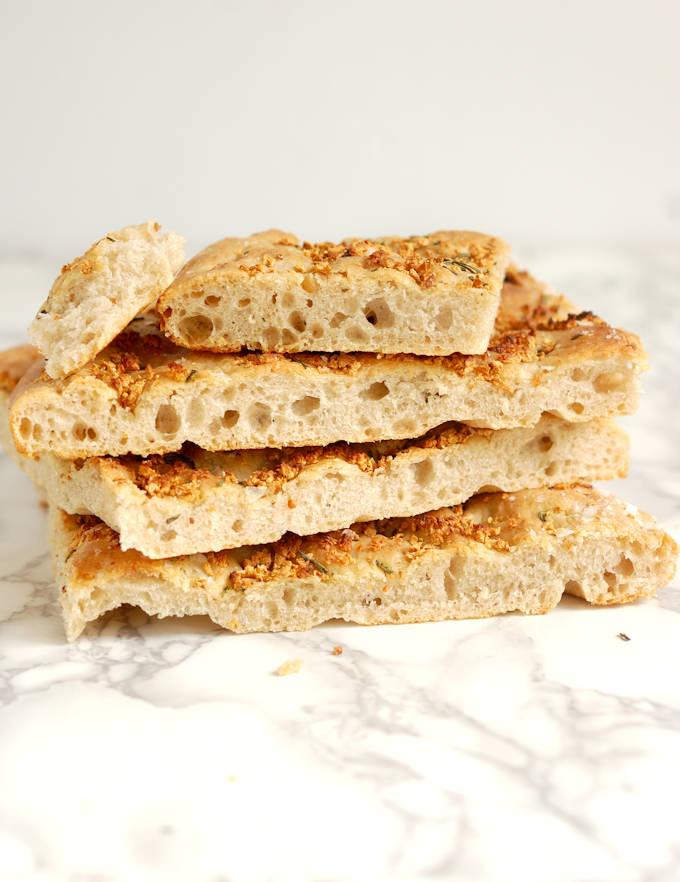 slices of sourdough focaccia