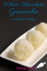 a pinterest image for white chocolate snowball truffle recipe