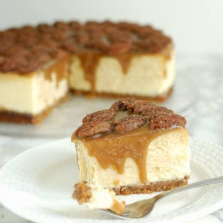 Bourbon Butterscotch Cheesecake with Spiced Pecans