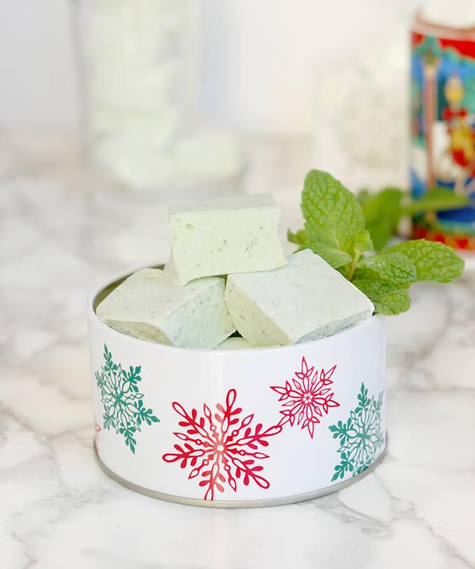 fresh mint marshmallows in a decorative tin