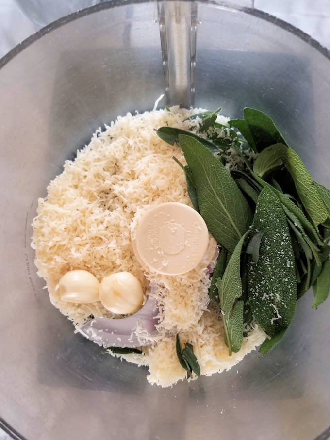 ingredients for sage pesto in a food processor