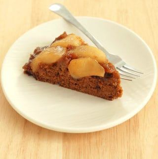 pear upside down gingerbread cake