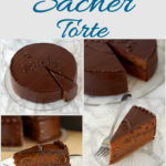 a sacher torte pinterest image with text overlay