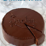 a pinterest image of a sacher torte with text overlay