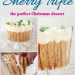 a pinterest image for sherry trifle recipe with text overlay