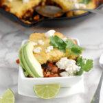 a bowl of Chili Cornbread Cobbler