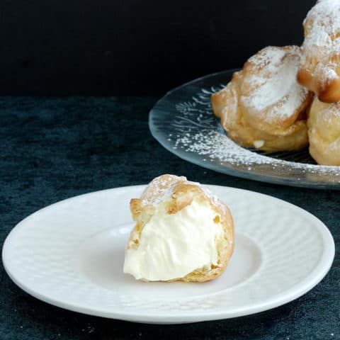Cream puff filled with pastry cream