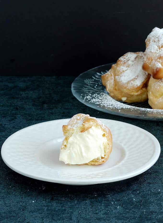 a cream puff on a plate