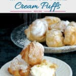 a pinterest image showing cream puffs with text overlay