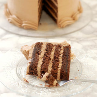 Chocolate Butter Cake with Chocolate Italian Meringue Buttercream