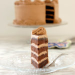 a slice of chocolate layer cake with chocolate buttercream
