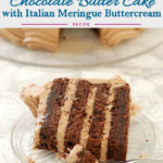 a pinterest image for chocolate butter cake with text overlay