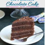 a pinterest image for old fashioned chocolate cake