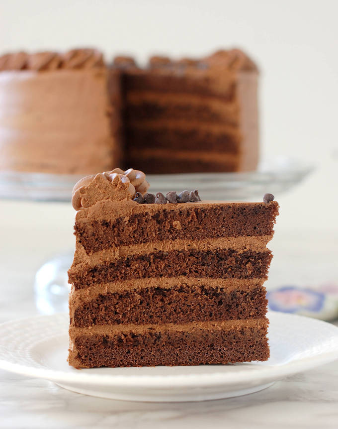 a slice of Chocolate Genoise filled with chocolate cream