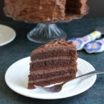 a slice of old fashioned chocolate cake