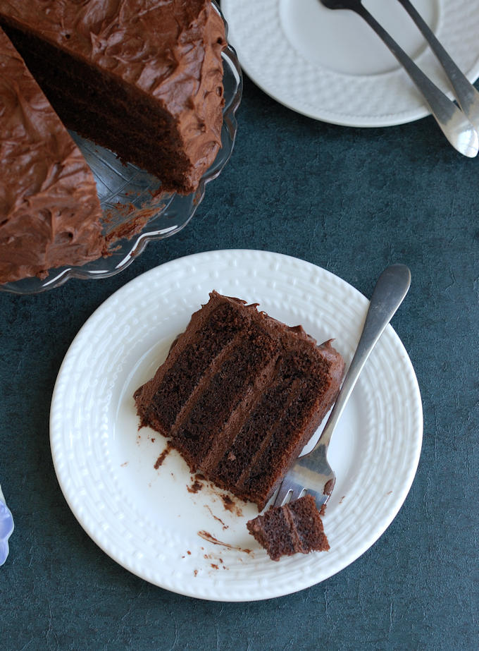 a slice of chocolate cake on a plate with a fork