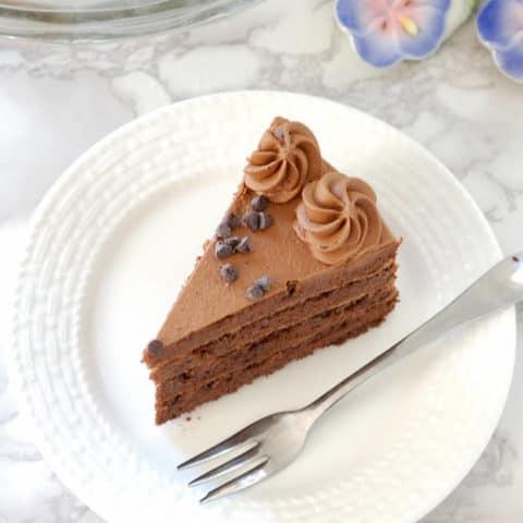 Chocolate Whipped Cream in a chocolate sponge cake