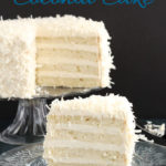 a pinterest image for old fashioned coconut cake with text overlay
