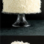 a pinterest image for white coconut layer cake with test overlay
