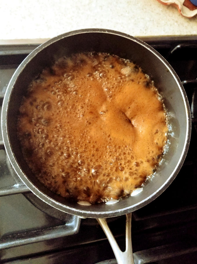 caramel cooking in a pan