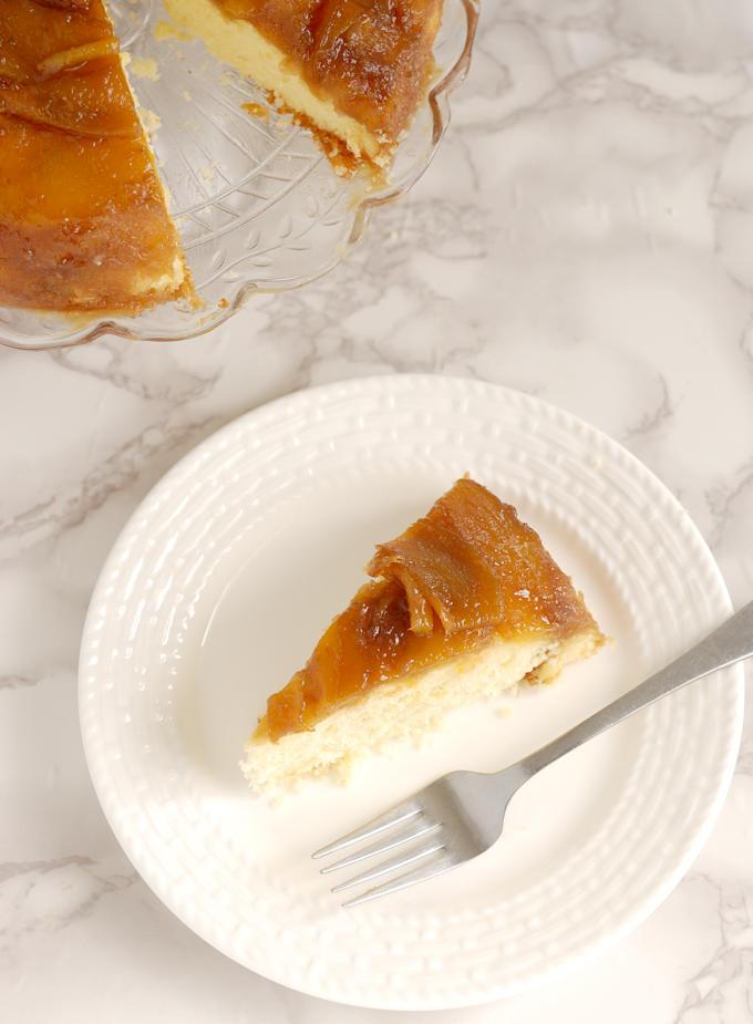 a slice of Mango Upside Down Cake