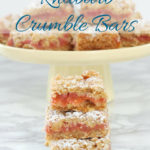 a pinterest image for rhubarb crumb bars with text overlay