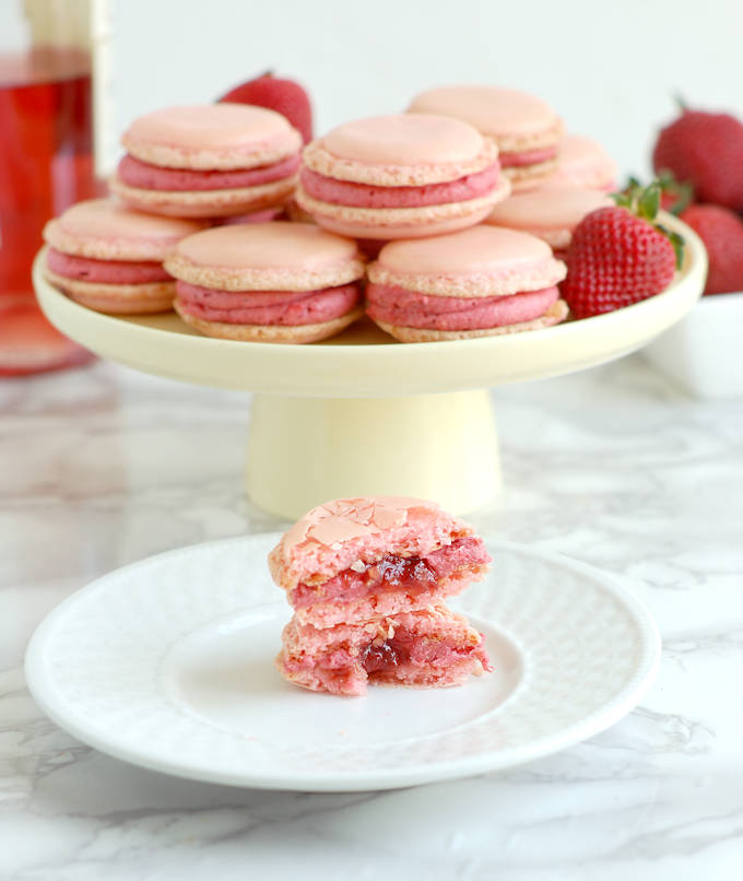strawberry & rose wine macarons