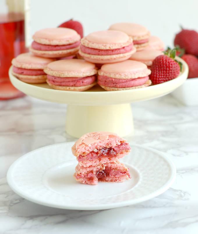 strawberry & rose wine macarons