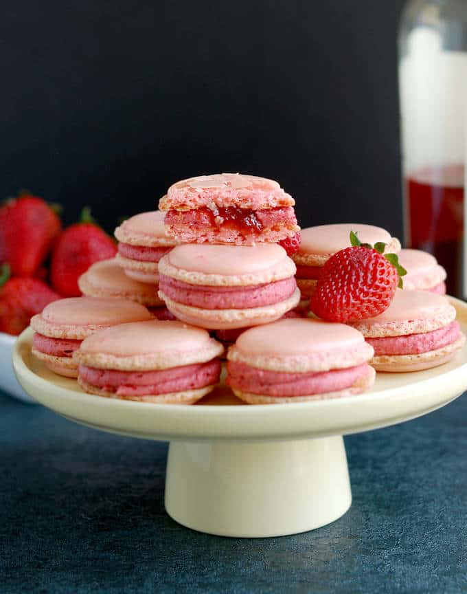 Strawberry & Rosé Wine Macarons