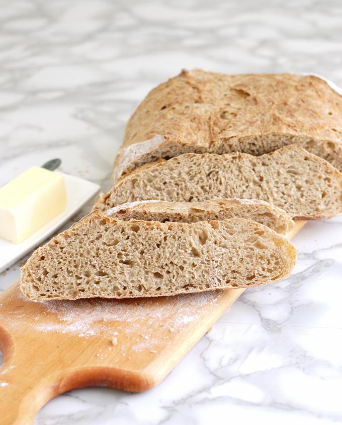 whole grain low knead bread