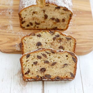 a sliced loaf of chocolate chunk banana bread