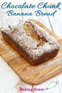 a pinterest image for chocolate chunk banana bread recipe