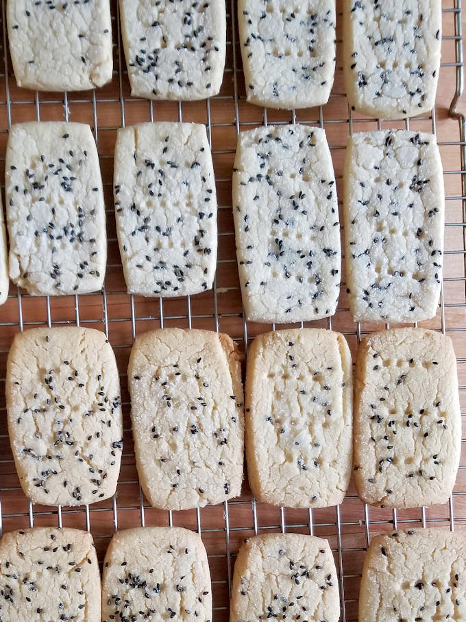 tahini shortbread cookies baked at two different temperatures