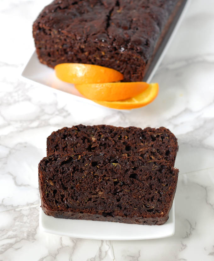 2 slices of chocolate zucchini bread on a plate
