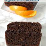 a pinterest image for chocolate orange zucchini bread