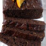 a pinterest image for chocolate orange zucchini bread'