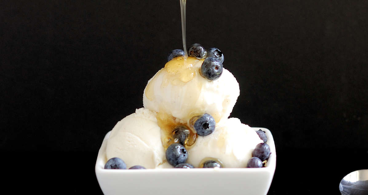 frozen yogurt with honey and vanilla bean