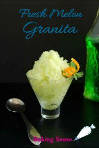 a pinterest image for melon granita recipe