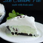 a pinterest image for mint chocolate chip ice cream pie recipe