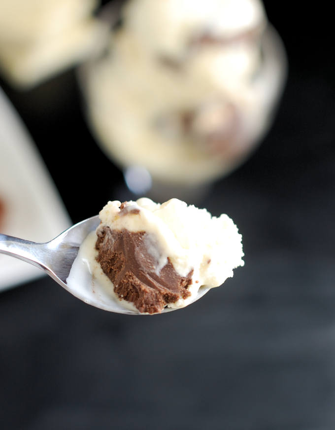 white chocolate ice cream with chocolate truffles