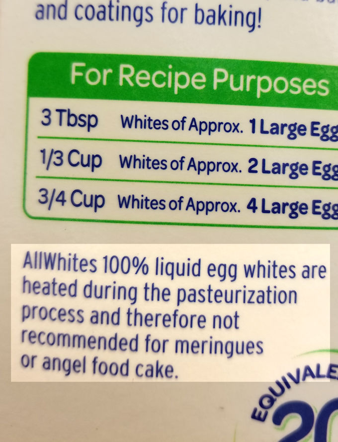 don't use pasteurized egg white to make angel food cake
