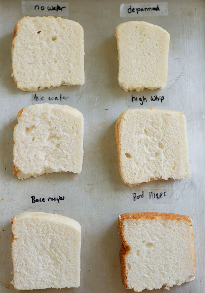 A tray of 6 slices of angel food cake labeled for different mixing techniques and ingredients.