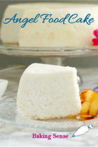 a slice of angel food cake with text overlay