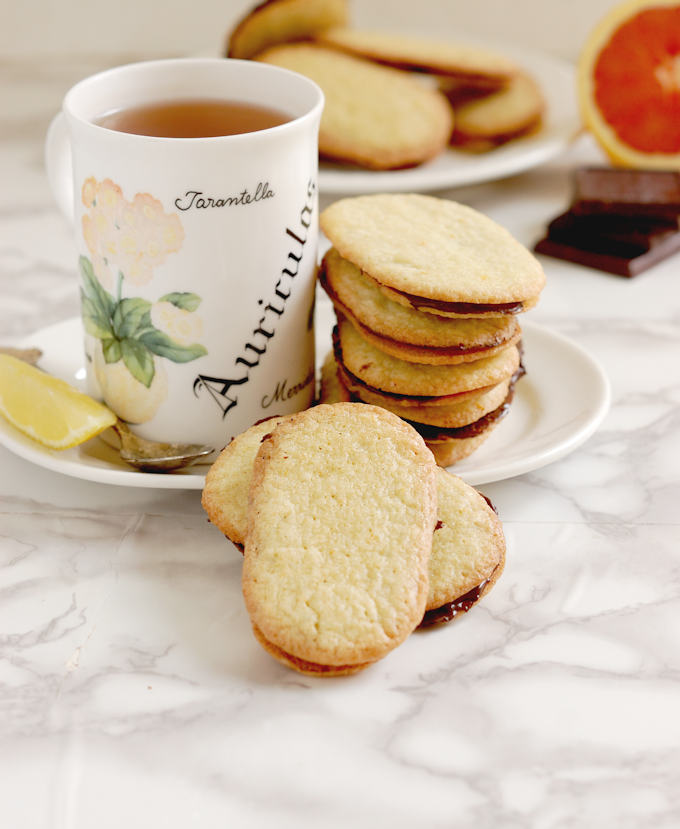 Chocolate Orange thin cookies with a cup of tea