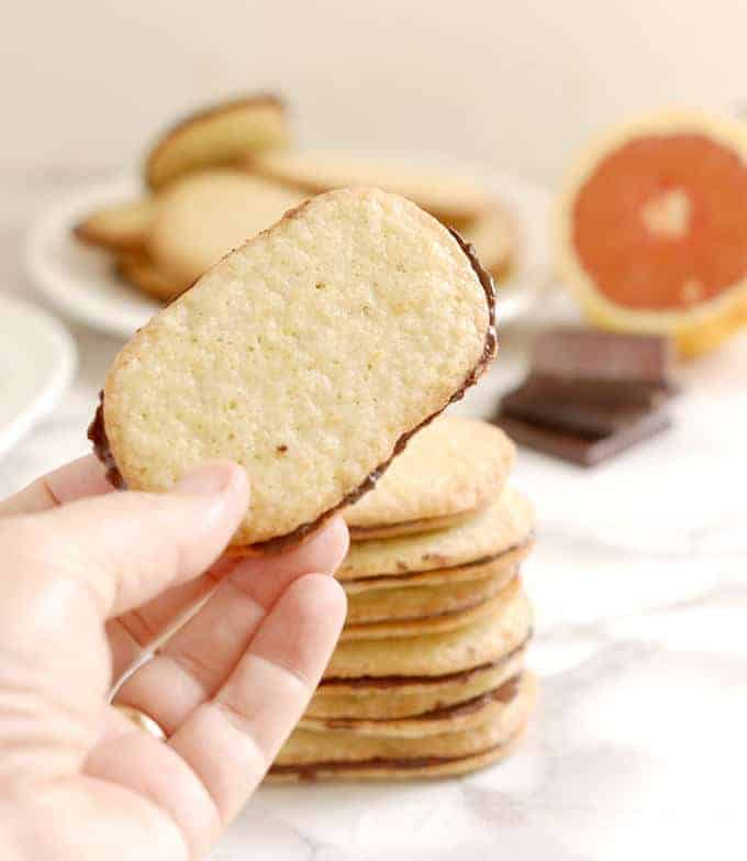 a hand holding a Chocolate Orange Thin cookie