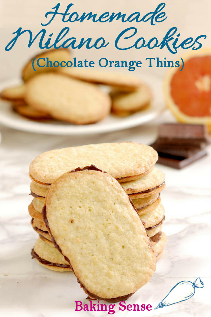 If you love Milano Cookies, you'll love these Homemade Milano Cookies. Light and crisp cookies are sandwiched with real semi-sweet chocolate and perfumed with orange zest. #cookie #milano #copycat #homemade #easy #best