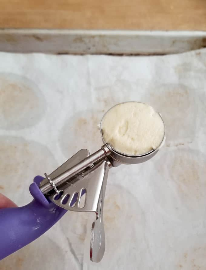 a small scooper filled with lemon cookie batter