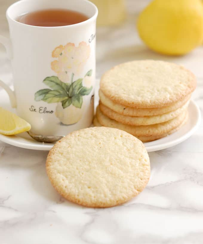 lemon thin cookies and a cup of tea