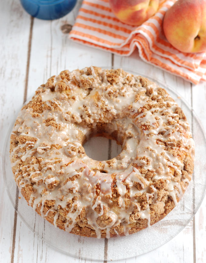 peach & pecan streusel coffee cake