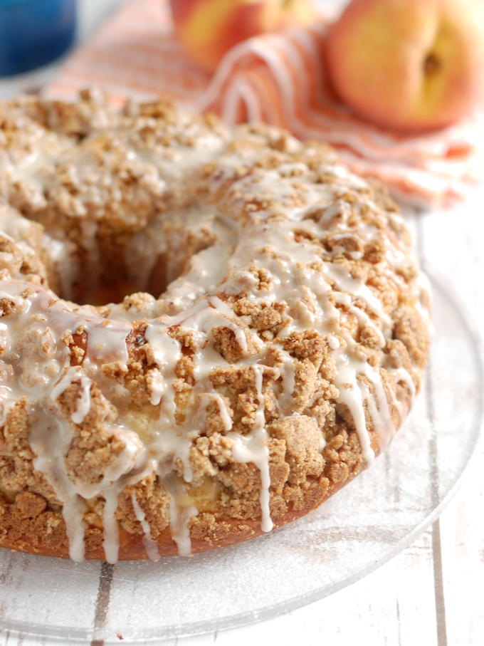 closeup of peach & pecan streusel coffee cake